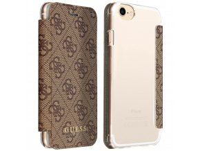 Pouzdro / kryt pro iPhone 8 / 7 / 6S / 6 - Guess, Charms 4G Brown Book