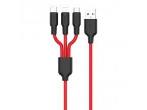 Kabel 3v1 - Hoco, X21 Silicone Black/Red (Lightning+Micro+Type-C)