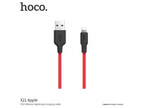 Kabel Lightning pro iPhone a iPad - Hoco, X21 Silicone Black/Red