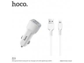 Auto-nabíječka pro iPhone a iPad - HOCO, Z23 Grand 2.4A + Lightning kabel