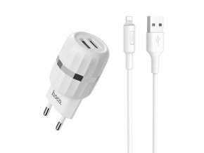 Nabíjecí AC adaptér pro iPhone a iPad - HOCO, C41A Dual 2.4A + Lightning kabel