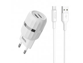 Nabíjecí AC adaptér pro iPhone a iPad - HOCO, C41A Dual 2.4A + MICRO-USB kabel