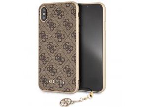 Ochranný kryt pro iPhone XS MAX - Guess, Charms 4G Back Brown