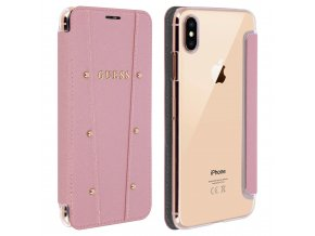 Pouzdro / kryt pro iPhone XS MAX - Guess, Kaia Book RoseGold