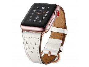 Kožený pásek / řemínek pro Apple Watch 38mm / 40mm - TECH-PROTECT, MILANO WHITE