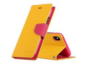 Pouzdro / kryt pro iPhone XS MAX - Mercury, Fancy Diary Yellow/HotPink