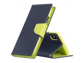Pouzdro / kryt pro iPhone XS MAX - Mercury, Fancy Diary Navy/Lime