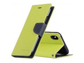 Pouzdro / kryt pro iPhone XS MAX - Mercury, Fancy Diary Lime/Navy