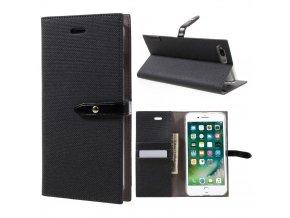 Pouzdro / kryt pro iPhone 7 Plus / 8 Plus - Mercury, Milano Diary BLACK/BLACK