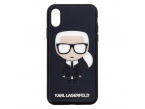 Ochranný kryt pro iPhone XS / X - Karl Lagerfeld, Glitter Iconic Black