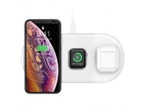 Bezdrátová rychlá nabíječka pro iPhone, Apple Watch a AirPods - BASEUS, SMART 3IN1 WHITE