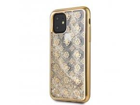 Ochranný kryt na iPhone 11 Pro - Guess, 4G Peony Glitter Gold