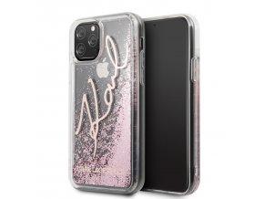 Ochranný kryt na iPhone 11 - Karl Lagerfeld, Glitter Signature Rose