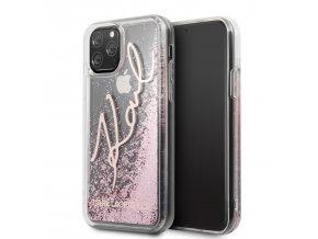 Ochranný kryt na iPhone 11 Pro - Karl Lagerfeld, Glitter Signature Rose
