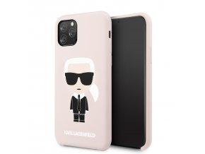 Ochranný kryt na iPhone 11 Pro - Karl Lagerfeld, Iconic Silicone Pink