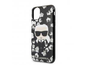 Ochranný kryt na iPhone 11 - Karl Lagerfeld, TPU Flower Black