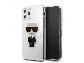 Ochranný kryt na iPhone 11 Pro MAX - Karl Lagerfeld, Glitter Iconic Silver
