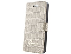 Pouzdro / kryt pro Apple iPhone 4 / 4S - Guess, Croco Folio Beige