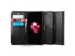 Pouzdro / kryt pro iPhone 7 Plus - Spigen, Wallet S Black
