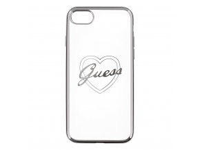 Pouzdro / kryt pro Apple iPhone 7 - Guess, Heart TPU Silver