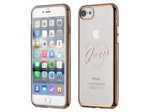 Pouzdro / kryt pro Apple iPhone 7 / 8 - Guess, Heart TPU Gold