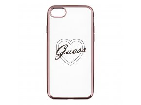Pouzdro / kryt pro Apple iPhone 7 / 8 - Guess, Heart TPU Rose Gold