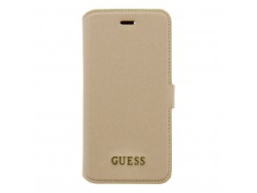 Pouzdro / kryt pro Apple iPhone 7 - Guess, Saffiano Book Beige