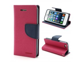 Pouzdro / kryt pro Apple iPhone 5 / 5S / SE - Mercury, Fancy Diary Hotpink/Navy