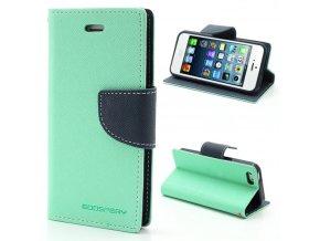 Pouzdro / kryt pro Apple iPhone 5 / 5S / SE - Mercury, Fancy Diary Mint/Navy