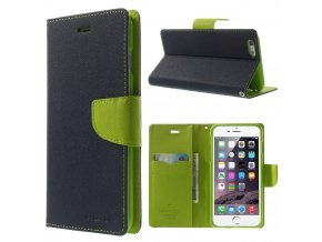 Pouzdro / kryt pro Apple iPhone 6 Plus / 6S Plus - Mercury, Fancy Diary NAVY/LIME