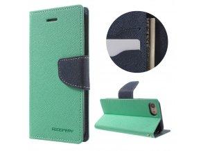 Pouzdro / kryt pro iPhone 7 - Mercury, Fancy Diary MINT/NAVY