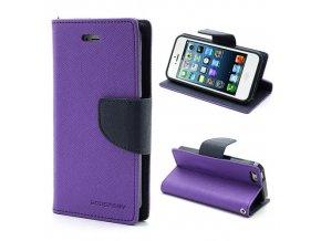 Pouzdro / kryt pro Apple iPhone 5 / 5S / SE - Mercury, Fancy Diary Purple/Navy