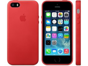 Pouzdro / kryt pro iPhone 5 / 5S / SE - Apple, Leather Case Red