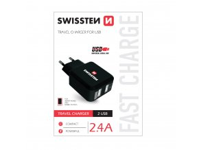 Nabíjecí AC adaptér pro iPhone a iPad - SWISSTEN, 2.4A Black