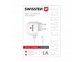Nabíječka do sítě s kabelem Lightning (bez MFI) pro iPhone - SWISSTEN, 1A