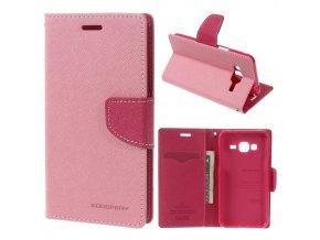 Pouzdro / kryt pro Samsung GALAXY J3 (2016) J3109 - Mercury, Fancy Diary Pink/Hotpink
