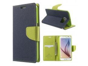 Pouzdro / kryt pro Samsung Galaxy S6 - Mercury, Fancy Diary Navy/Lime