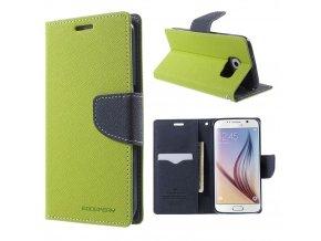 Pouzdro / kryt pro Samsung Galaxy S6 - Mercury, Fancy Diary Lime/Navy