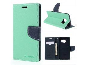 Pouzdro / kryt pro Samsung Galaxy S6 EDGE - Mercury, Fancy Diary Mint/Navy