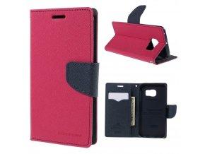 Pouzdro / kryt pro Samsung Galaxy S6 EDGE - Mercury, Fancy Diary Hotpink/Navy