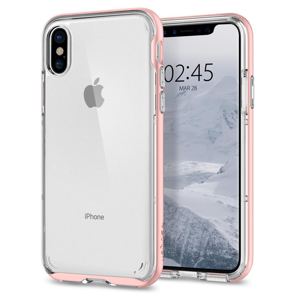 Ochranný kryt pro iPhone X - Spigen, Neo Hybrid Crystal Rose Gold