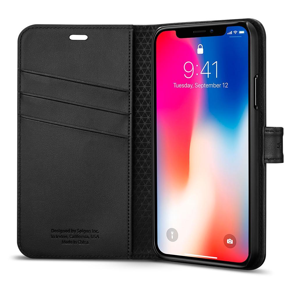 Ochranný kryt / pouzdro pro iPhone X - Spigen, Wallet S Black
