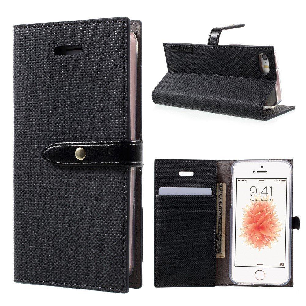 Pouzdro / kryt pro iPhone 5 / 5S / SE - Mercury, Milano Diary BLACK/BLACK