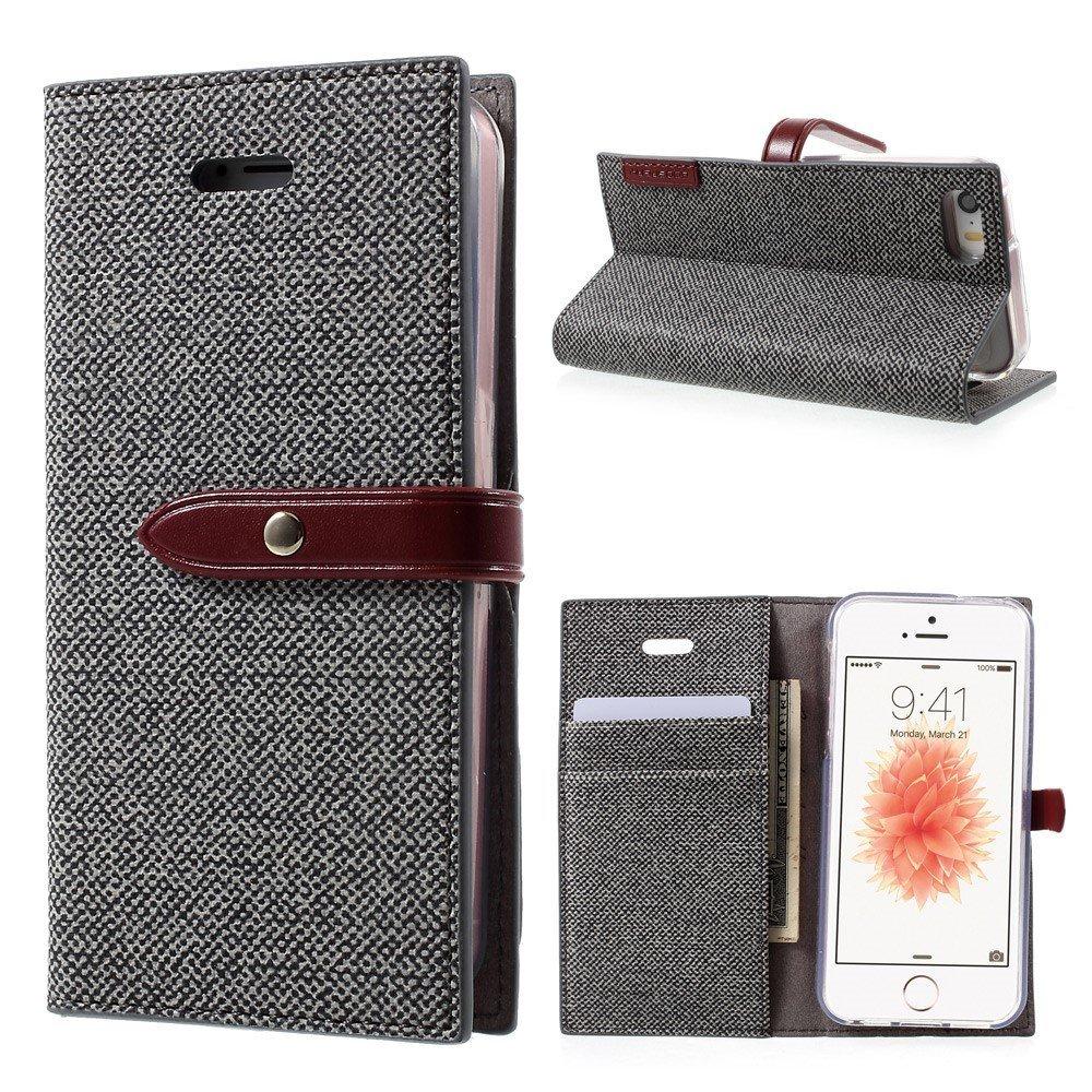 Pouzdro / kryt pro iPhone 5 / 5S / SE - Mercury, Milano Diary GREY/WINE