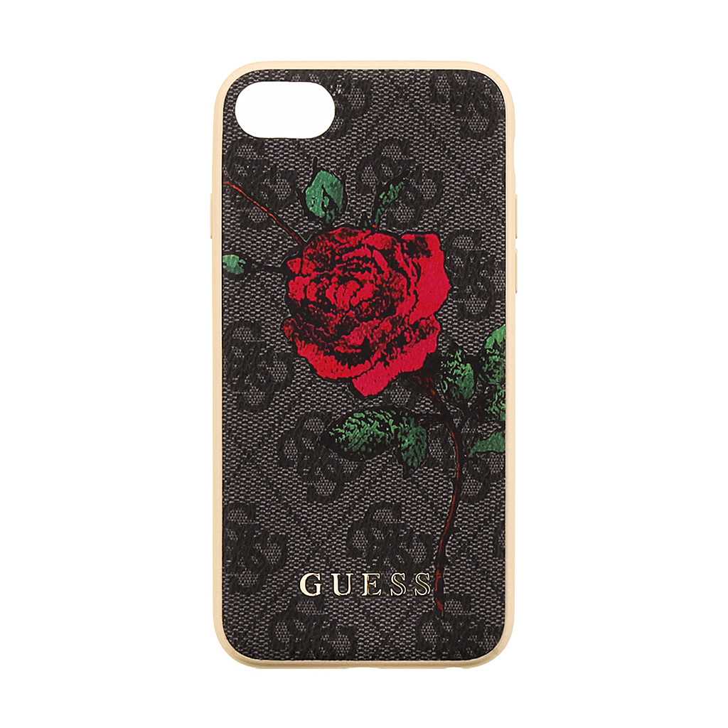 Pouzdro / kryt pro iPhone 8 / 7 / 6S / 6 - Guess, 4G Flower Desire Grey Back