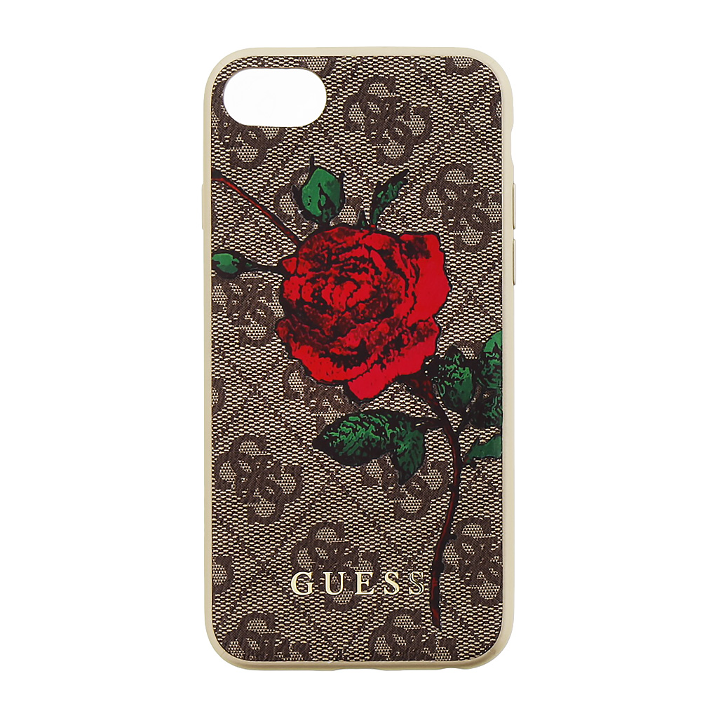 Pouzdro / kryt pro iPhone 8 / 7 / 6S / 6 - Guess, 4G Flower Desire Brown Back