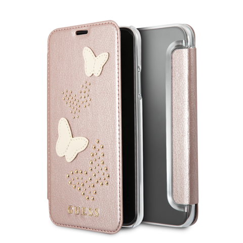 Pouzdro / kryt pro iPhone 8 / 7 / 6S / 6 - Guess, Studs and Sparkle RoseGold Book
