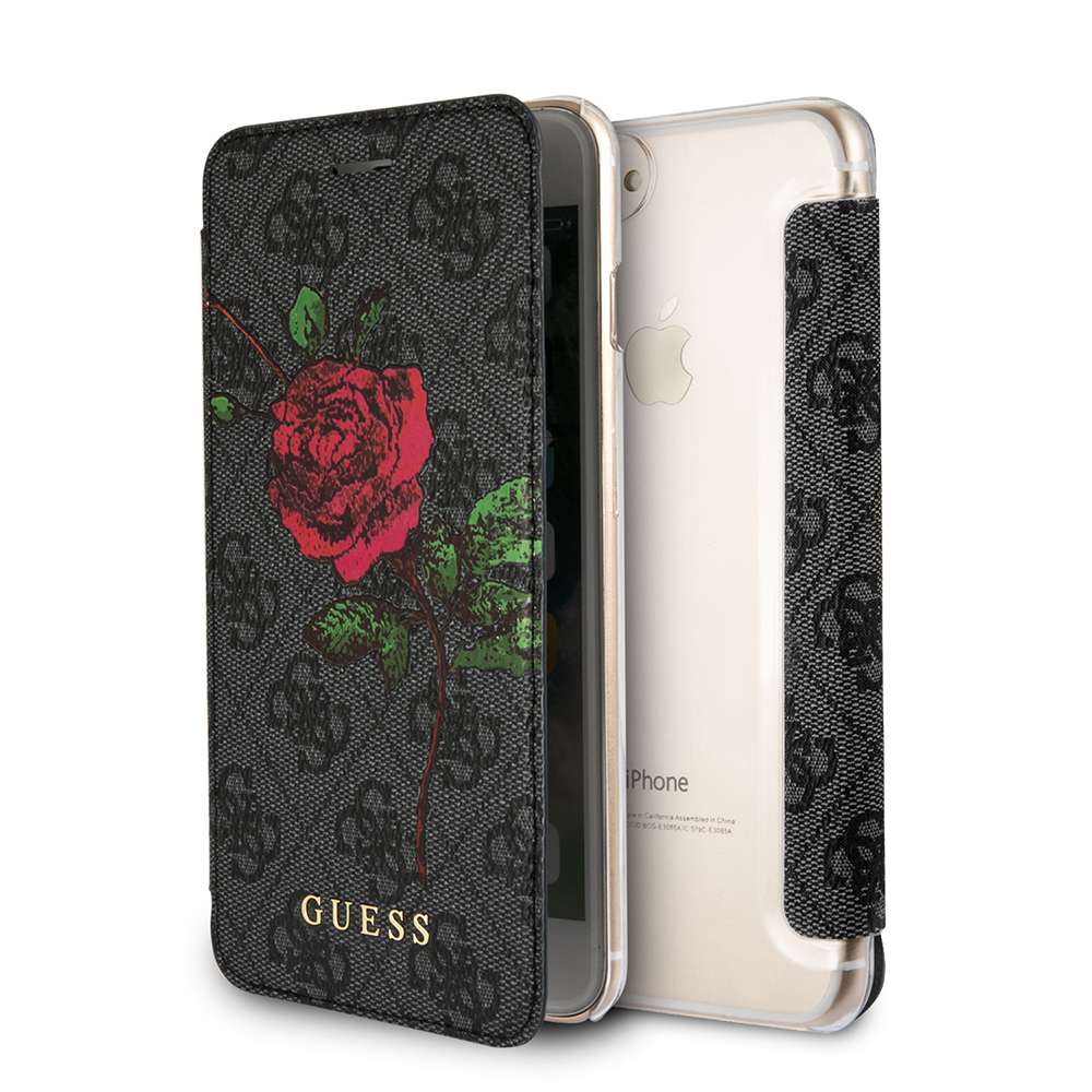 Pouzdro / kryt pro iPhone 8 PLUS / 7 PLUS / 6S PLUS / 6 PLUS - Guess, 4G Flower Desire Grey Book