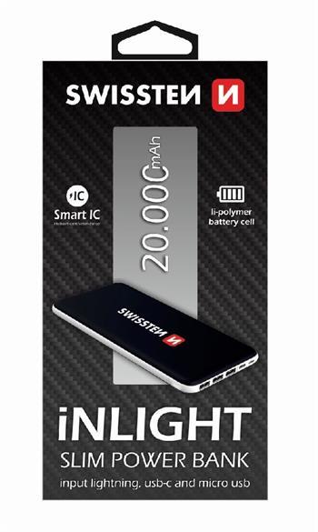 Externí baterie pro iPhone a iPad - SWISSTEN, iNLIGHT 20000mAh