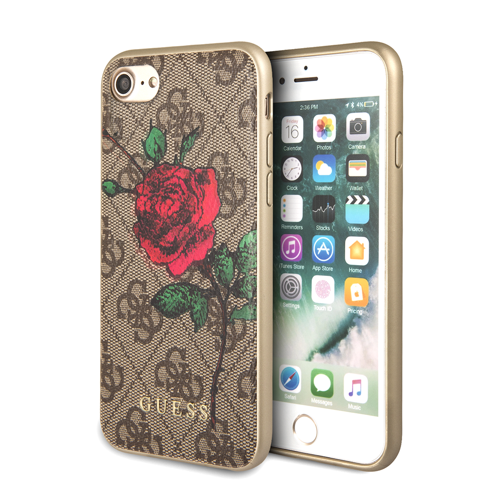 Pouzdro / kryt pro iPhone 8 / 7 - Guess, 4G Flower Desire Brown Back
